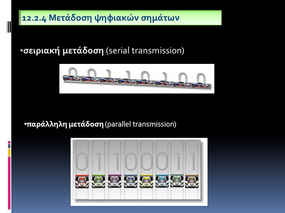 σειριακή μετάδοση (serial transmission) 12.2.4 Μετάδοση ψηφιακών σημάτων παράλληλη μετάδοση (parallel transmission)