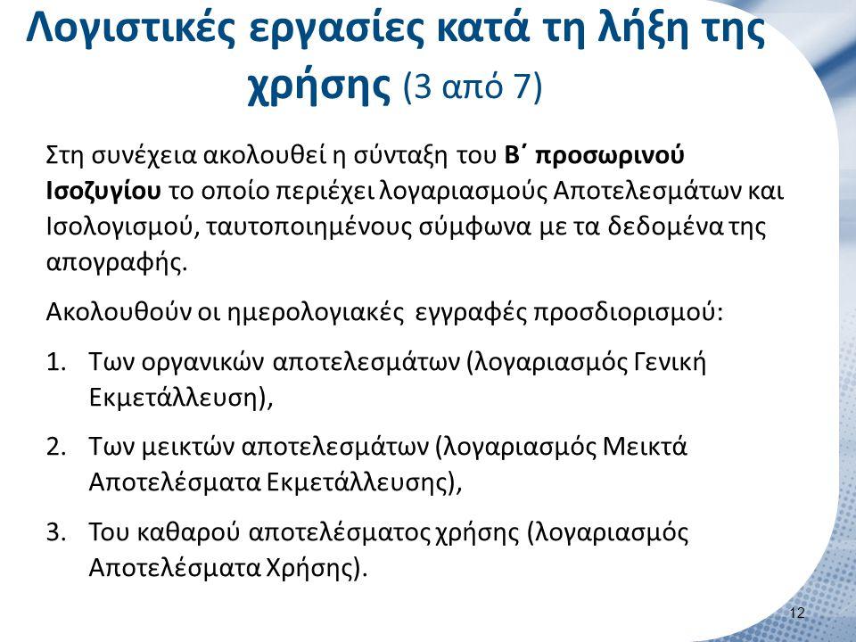 Λογιστικές εργασίες κατά τη λήξη της χρήσης (3 από 7) Στη συνέχεια ακολουθεί η σύνταξη του Β΄ προσωρινού Ισοζυγίου το οποίο περιέχει λογαριασμούς Αποτ