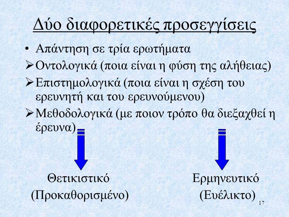 Δύο διαφορετικές προσεγγίσεις Απάντηση σε τρία ερωτήματα  Οντολογικά (ποια είναι η φύση της αλήθειας)  Επιστημολογικά (ποια είναι η σχέση του ερευνη