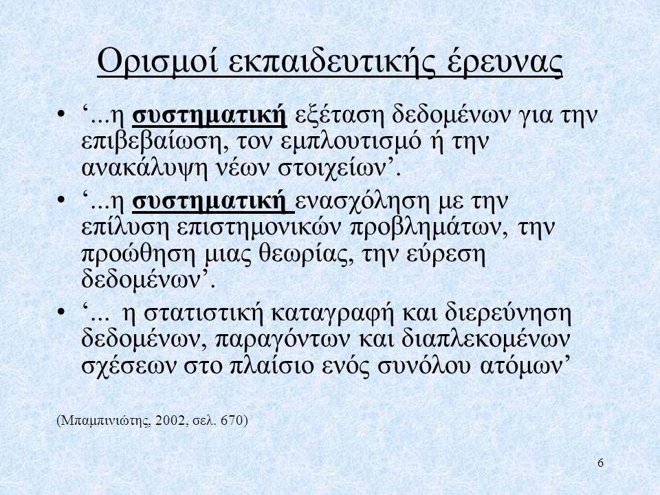 Η δημιουργία ερευνητικών ερωτημάτων Είναι τα παρακάτω ερευνητικά ερωτήματα; - Είναι το μάθημα των ελληνικών το πιο σημαντικό μάθημα στο δημοτικό; - Πρέπει να διδάσκονται τα Αγγλικά στο δημοτικό σχολείο; - Πρέπει τα παιδιά με ειδικές ανάγκες να εκπαιδεύονται σε κανονικά (μη ειδικά) σχολεία; Αν όχι, γιατί; Μπορεί να γίνουν;