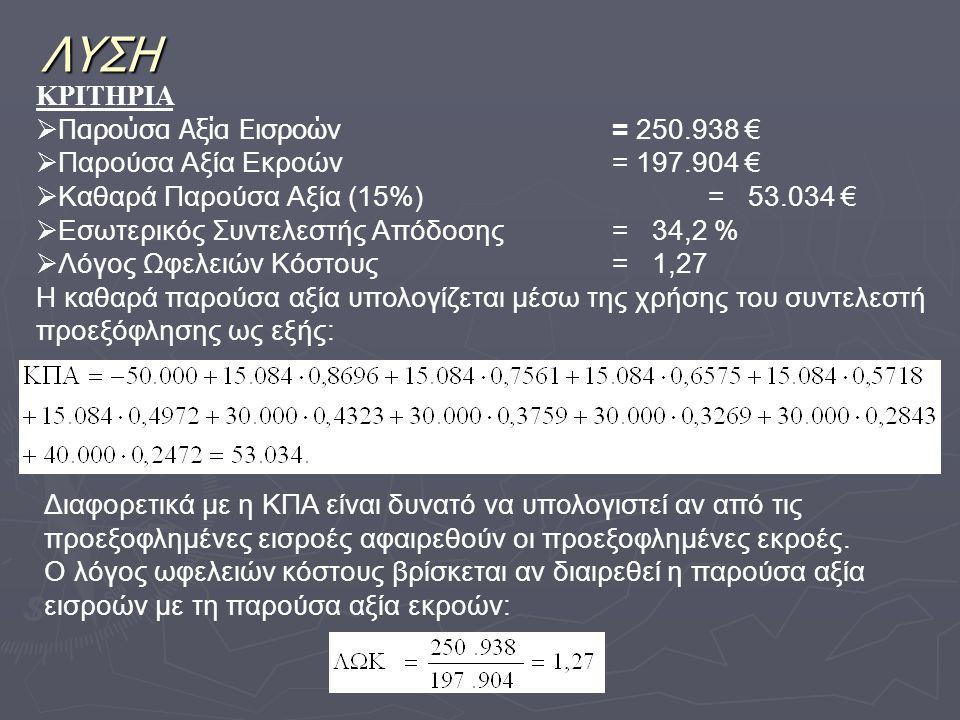 ΛΥΣΗ ΚΡΙΤΗΡΙΑ  Παρούσα Αξία Εισροών = 250.938 €  Παρούσα Αξία Εκροών= 197.904 €  Καθαρά Παρούσα Αξία (15%)= 53.034 €  Εσωτερικός Συντελεστής Απόδο