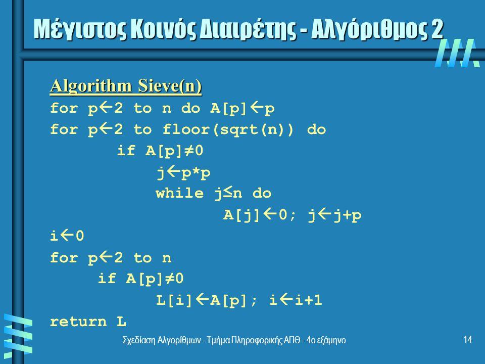 Σχεδίαση Αλγορίθμων - Τμήμα Πληροφορικής ΑΠΘ - 4ο εξάμηνο14 Algorithm Sieve(n) for p  2 to n do A[p]  p for p  2 to floor(sqrt(n)) do if A[p]≠0 j  p*p while j≤n do A[j]  0; j  j+p i  0 for p  2 to n if A[p]≠0 L[i]  A[p]; i  i+1 return L Μέγιστος Κοινός Διαιρέτης - Αλγόριθμος 2