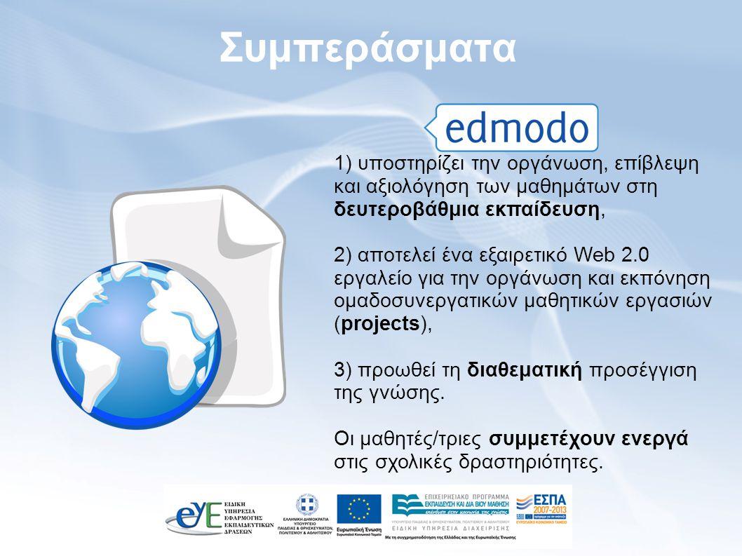 Συμπεράσματα 1) υποστηρίζει την οργάνωση, επίβλεψη και αξιολόγηση των μαθημάτων στη δευτεροβάθμια εκπαίδευση, 2) αποτελεί ένα εξαιρετικό Web 2.0 εργαλείο για την οργάνωση και εκπόνηση ομαδοσυνεργατικών μαθητικών εργασιών (projects), 3) προωθεί τη διαθεματική προσέγγιση της γνώσης.