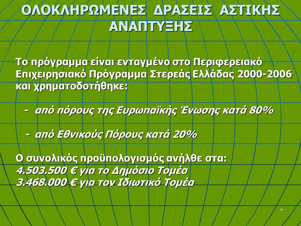 6 Το πρόγραμμα είναι ενταγμένο στο Περιφερειακό Επιχειρησιακό Πρόγραμμα Στερεάς Ελλάδας 2000-2006 και χρηματοδοτήθηκε: - από πόρους της Ευρωπαϊκής Ένωσης κατά 80% - από Εθνικούς Πόρους κατά 20% Ο συνολικός προϋπολογισμός ανήλθε στα: 4.503.500 € για το Δημόσιο Τομέα 3.468.000 € για τον Ιδιωτικό Τομέα
