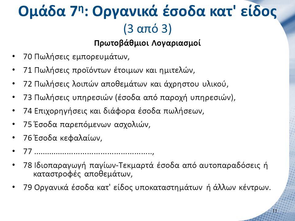 Ομάδα 7 η : Οργανικά έσοδα κατ' είδος (3 από 3) Πρωτοβάθμιοι Λογαριασμοί 70 Πωλήσεις εμπορευμάτων, 71 Πωλήσεις προϊόντων έτοιμων και ημιτελών, 72 Πωλή