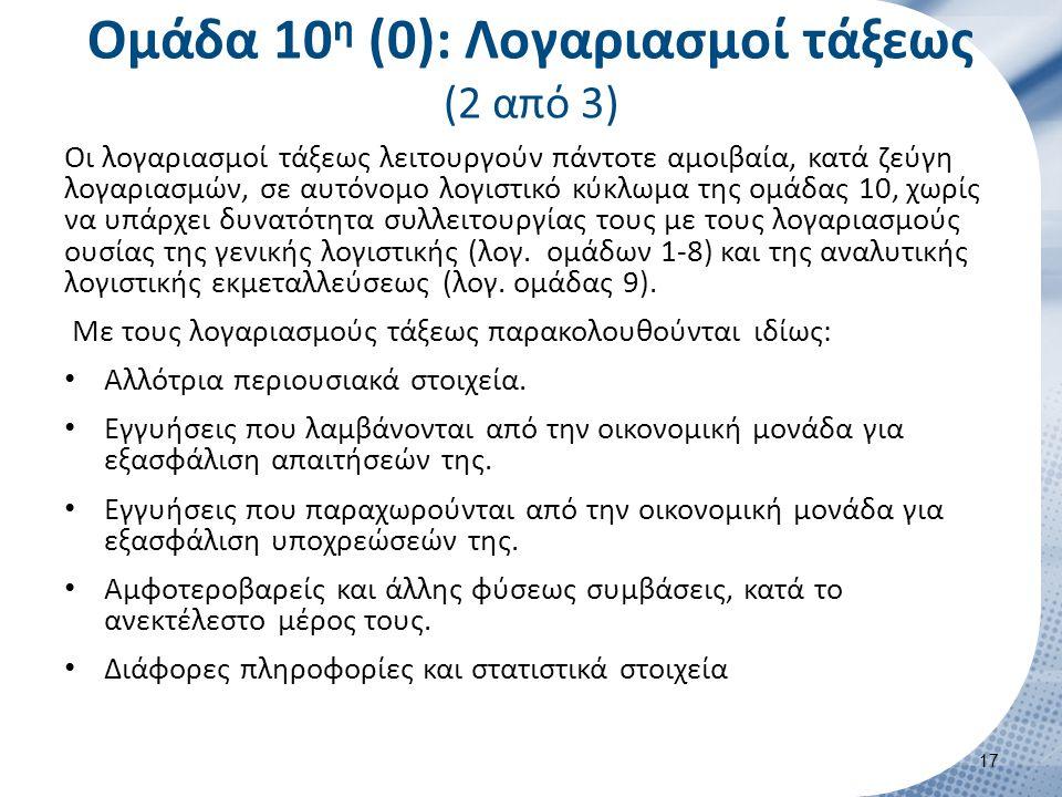 Ομάδα 10 η (0): Λογαριασμοί τάξεως (2 από 3) Οι λογαριασμοί τάξεως λειτουργούν πάντοτε αμοιβαία, κατά ζεύγη λογαριασμών, σε αυτόνομο λογιστικό κύκλωμα