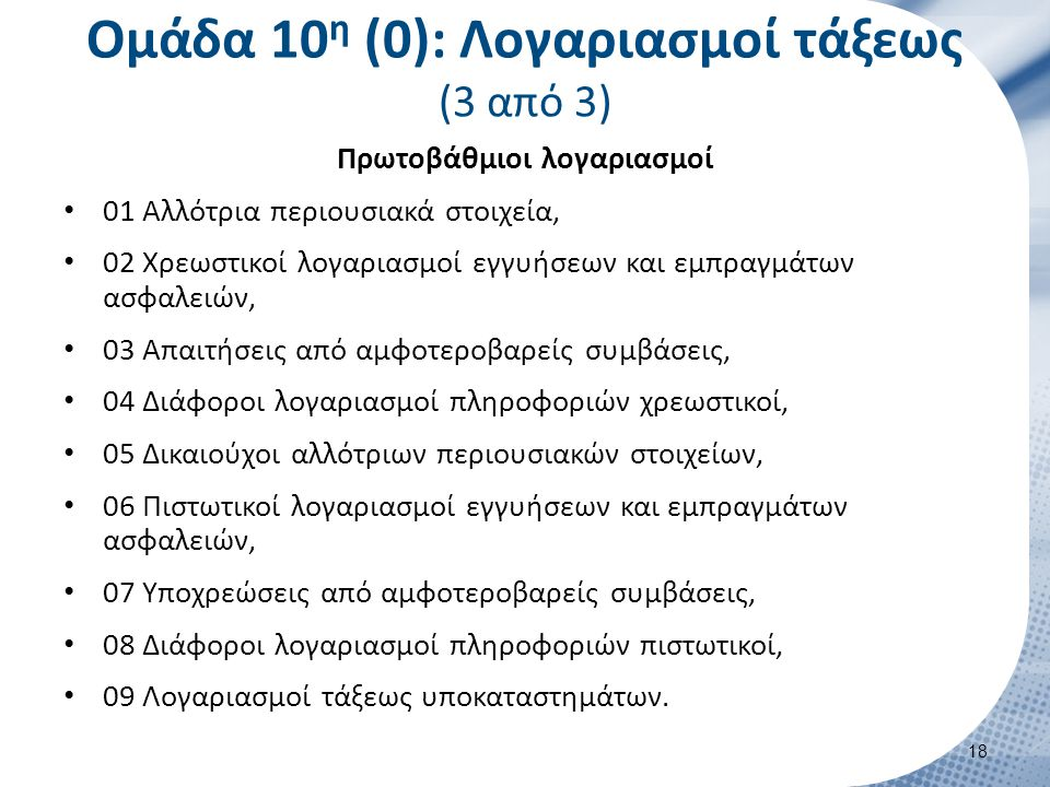 Ομάδα 10 η (0): Λογαριασμοί τάξεως (3 από 3) Πρωτοβάθμιοι λογαριασμοί 01 Αλλότρια περιουσιακά στοιχεία, 02 Χρεωστικοί λογαριασμοί εγγυήσεων και εμπραγ