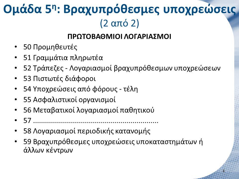 Ομάδα 5 η : Βραχυπρόθεσμες υποχρεώσεις (2 από 2) ΠΡΩΤΟΒΑΘΜΙΟΙ ΛΟΓΑΡΙΑΣΜΟΙ 50 Προμηθευτές 51 Γραμμάτια πληρωτέα 52 Τράπεζες - Λογαριασμοί βραχυπρόθεσμω