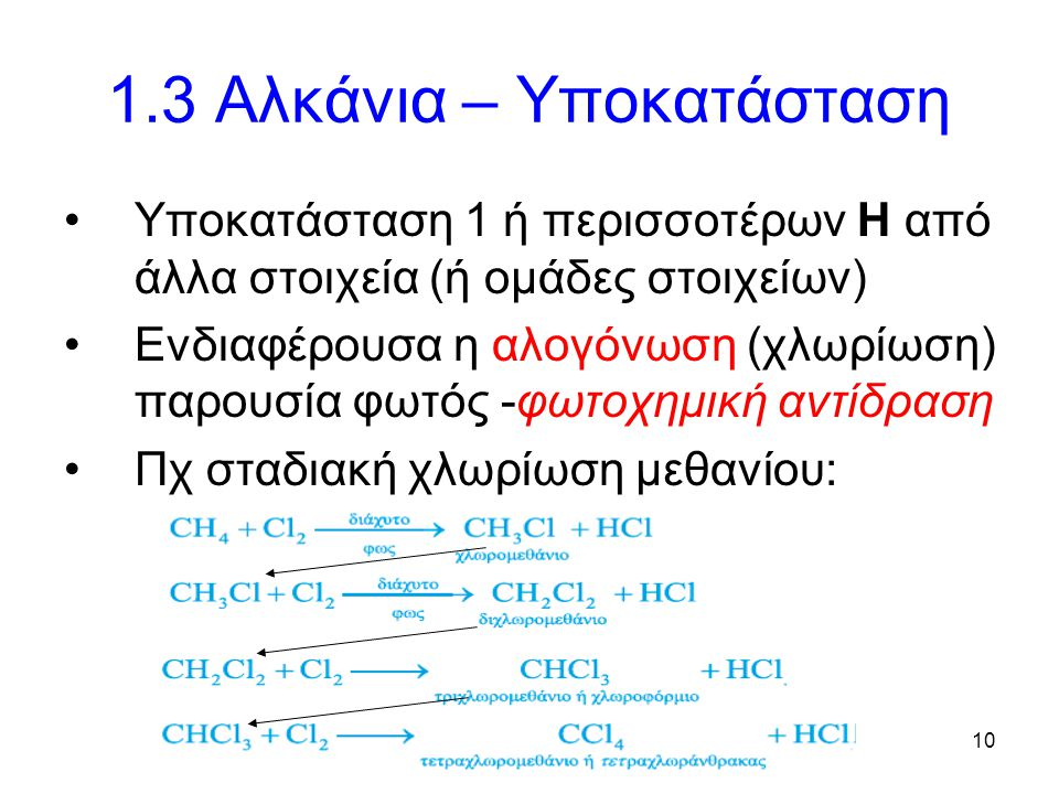 10 1.3 Αλκάνια – Υποκατάσταση Υποκατάσταση 1 ή περισσοτέρων Η από άλλα στοιχεία (ή ομάδες στοιχείων) Ενδιαφέρουσα η αλογόνωση (χλωρίωση) παρουσία φωτός -φωτοχημική αντίδραση Πχ σταδιακή χλωρίωση μεθανίου: