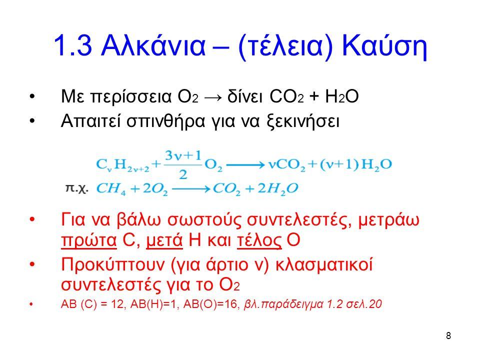 8 1.3 Αλκάνια – (τέλεια) Καύση Με περίσσεια Ο 2 → δίνει CO 2 + H 2 O Απαιτεί σπινθήρα για να ξεκινήσει Για να βάλω σωστούς συντελεστές, μετράω πρώτα C, μετά Η και τέλος Ο Προκύπτουν (για άρτιο ν) κλασματικοί συντελεστές για το Ο 2 ΑΒ (C) = 12, AB(H)=1, AB(O)=16, βλ.παράδειγμα 1.2 σελ.20