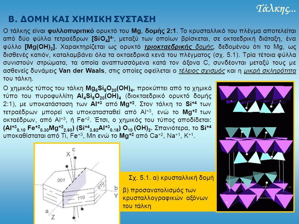 Τάλκης... Β. ΔΟΜΗ ΚΑΙ ΧΗΜΙΚΗ ΣΥΣΤΑΣΗ Ο τάλκης είναι φυλλοπυριτικό ορυκτό του Mg, δομής 2:1. Το κρυσταλλικό του πλέγμα αποτελείται από δύο φύλλα τετραέ