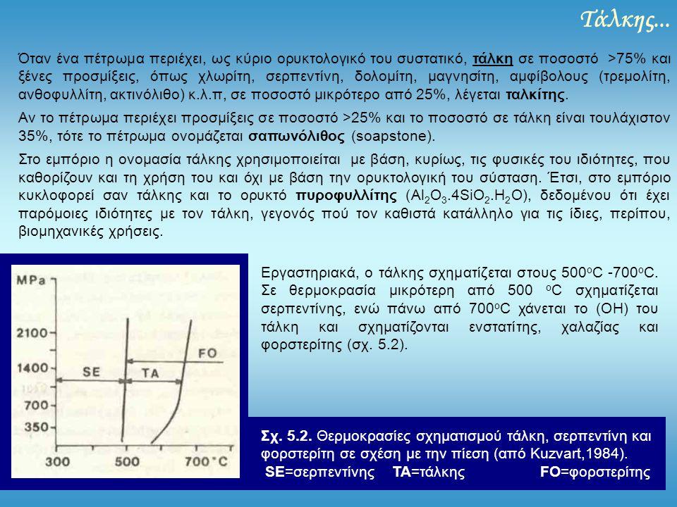 Τάλκης... Όταν ένα πέτρωμα περιέχει, ως κύριο ορυκτολογικό του συστατικό, τάλκη σε ποσοστό >75% και ξένες προσμίξεις, όπως χλωρίτη, σερπεντίνη, δολομί