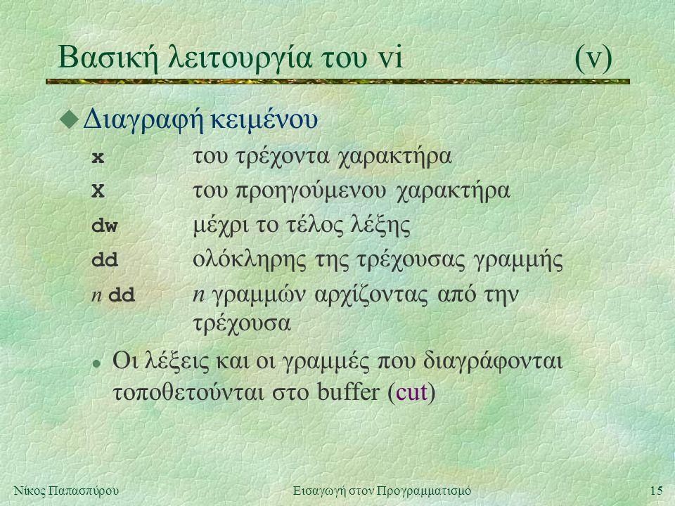 15Νίκος Παπασπύρου Εισαγωγή στον Προγραμματισμό Βασική λειτουργία του vi(v) u Διαγραφή κειμένου x του τρέχοντα χαρακτήρα Χ του προηγούμενου χαρακτήρα dw μέχρι το τέλος λέξης dd ολόκληρης της τρέχουσας γραμμής n dd n γραμμών αρχίζοντας από την τρέχουσα l Οι λέξεις και οι γραμμές που διαγράφονται τοποθετούνται στο buffer (cut)