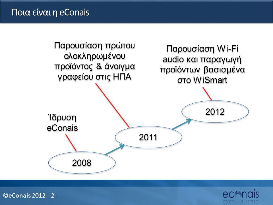 ©eConais 2012 - 2- Ποια είναι η eConais 2008 2011 2012 Ίδρυση eConais Παρουσίαση πρώτου ολοκληρωμένου προϊόντος & άνοιγμα γραφείου στις ΗΠΑ Παρουσίαση Wi-Fi audio και παραγωγή προϊόντων βασισμένα στο WiSmart