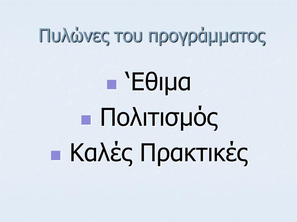 Πυλώνες του προγράμματος Πυλώνες του προγράμματος 'Εθιμα 'Εθιμα Πολιτισμός Πολιτισμός Καλές Πρακτικές Καλές Πρακτικές