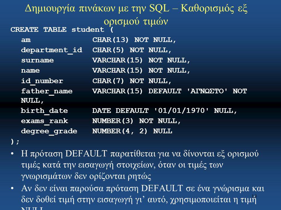 13 Δημιουργία πινάκων με την SQL – Καθορισμός εξ ορισμού τιμών CREATE TABLE student ( amCHAR(13) NOT NULL, department_idCHAR(5) NOT NULL, surnameVARCHAR(15) NOT NULL, nameVARCHAR(15) NOT NULL, id_numberCHAR(7) NOT NULL, father_nameVARCHAR(15) DEFAULT ΑΓΝΩΣΤΟ NOT NULL, birth_dateDATE DEFAULT 01/01/1970 NULL, exams_rankNUMBER(3) NOT NULL, degree_gradeNUMBER(4, 2) NULL ); Η πρόταση DEFAULT παρατίθεται για να δίνονται εξ ορισμού τιμές κατά την εισαγωγή στοιχείων, όταν οι τιμές των γνωρισμάτων δεν ορίζονται ρητώς Αν δεν είναι παρούσα πρόταση DEFAULT σε ένα γνώρισμα και δεν δοθεί τιμή στην εισαγωγή γι' αυτό, χρησιμοποιείται η τιμή NULL