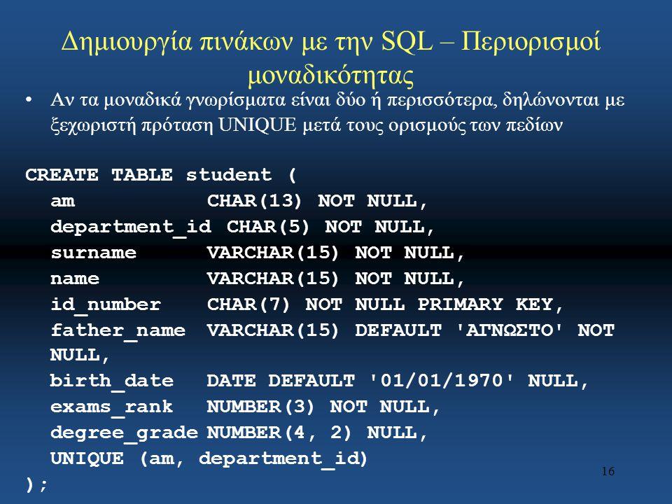 16 Δημιουργία πινάκων με την SQL – Περιορισμοί μοναδικότητας Αν τα μοναδικά γνωρίσματα είναι δύο ή περισσότερα, δηλώνονται με ξεχωριστή πρόταση UNIQUE μετά τους ορισμούς των πεδίων CREATE TABLE student ( amCHAR(13) NOT NULL, department_idCHAR(5) NOT NULL, surnameVARCHAR(15) NOT NULL, nameVARCHAR(15) NOT NULL, id_numberCHAR(7) NOT NULL PRIMARY KEY, father_nameVARCHAR(15) DEFAULT ΑΓΝΩΣΤΟ NOT NULL, birth_dateDATE DEFAULT 01/01/1970 NULL, exams_rankNUMBER(3) NOT NULL, degree_gradeNUMBER(4, 2) NULL, UNIQUE (am, department_id) );