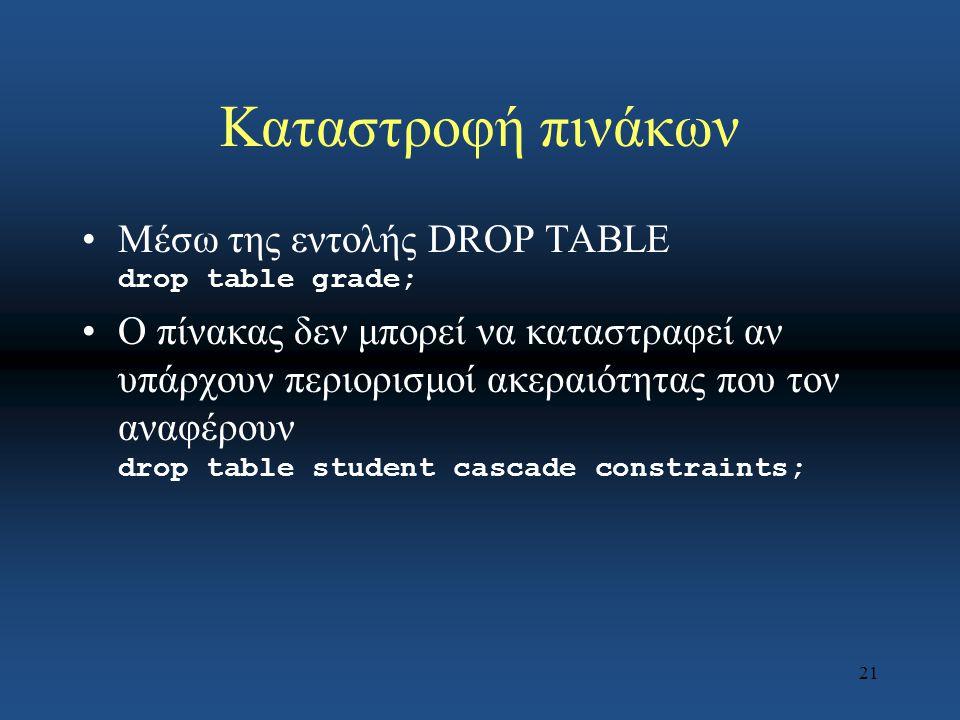 21 Καταστροφή πινάκων Μέσω της εντολής DROP TABLE drop table grade; Ο πίνακας δεν μπορεί να καταστραφεί αν υπάρχουν περιορισμοί ακεραιότητας που τον αναφέρουν drop table student cascade constraints;