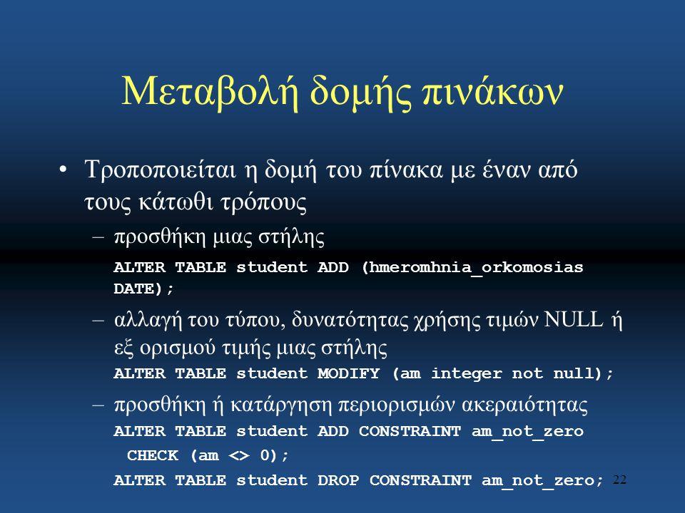 22 Μεταβολή δομής πινάκων Τροποποιείται η δομή του πίνακα με έναν από τους κάτωθι τρόπους –προσθήκη μιας στήλης ALTER TABLE student ADD (hmeromhnia_orkomosias DATE); –αλλαγή του τύπου, δυνατότητας χρήσης τιμών NULL ή εξ ορισμού τιμής μιας στήλης ALTER TABLE student MODIFY (am integer not null); –προσθήκη ή κατάργηση περιορισμών ακεραιότητας ALTER TABLE student ADD CONSTRAINT am_not_zero CHECK (am <> 0); ALTER TABLE student DROP CONSTRAINT am_not_zero;