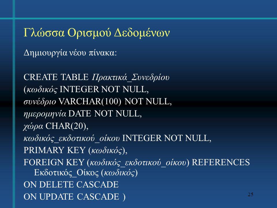 25 Γλώσσα Ορισμού Δεδομένων Δημιουργία νέου πίνακα: CREATE TABLE Πρακτικά_Συνεδρίου (κωδικός INTEGER NOT NULL, συνέδριο VARCHAR(100) NOT NULL, ημερομηνία DATE NOT NULL, χώρα CHAR(20), κωδικός_εκδοτικού_οίκου INTEGER NOT NULL, PRIMARY KEY (κωδικός), FOREIGN KEY (κωδικός_εκδοτικού_οίκου) REFERENCES Εκδοτικός_Οίκος (κωδικός) ON DELETE CASCADE ON UPDATE CASCADE )