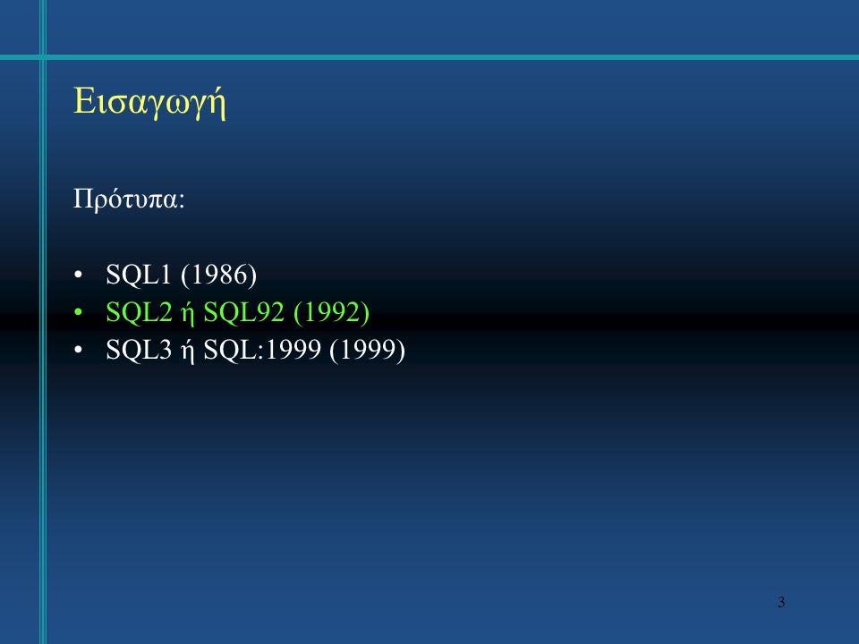3 Εισαγωγή Πρότυπα: SQL1 (1986) SQL2 ή SQL92 (1992) SQL3 ή SQL:1999 (1999)