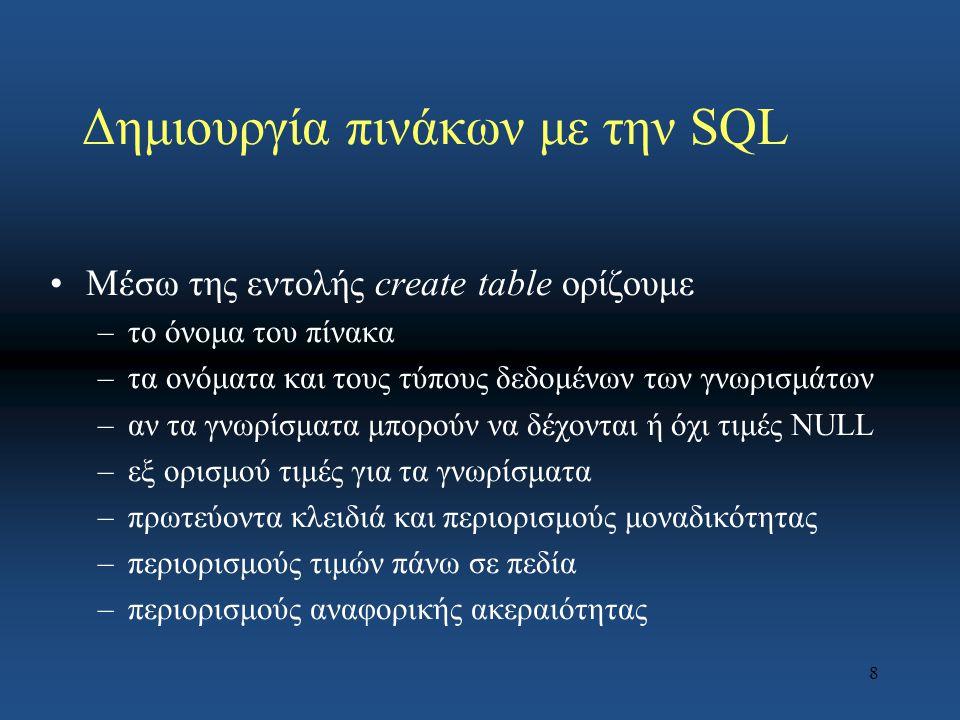 8 Δημιουργία πινάκων με την SQL Μέσω της εντολής create table ορίζουμε –το όνομα του πίνακα –τα ονόματα και τους τύπους δεδομένων των γνωρισμάτων –αν τα γνωρίσματα μπορούν να δέχονται ή όχι τιμές NULL –εξ ορισμού τιμές για τα γνωρίσματα –πρωτεύοντα κλειδιά και περιορισμούς μοναδικότητας –περιορισμούς τιμών πάνω σε πεδία –περιορισμούς αναφορικής ακεραιότητας