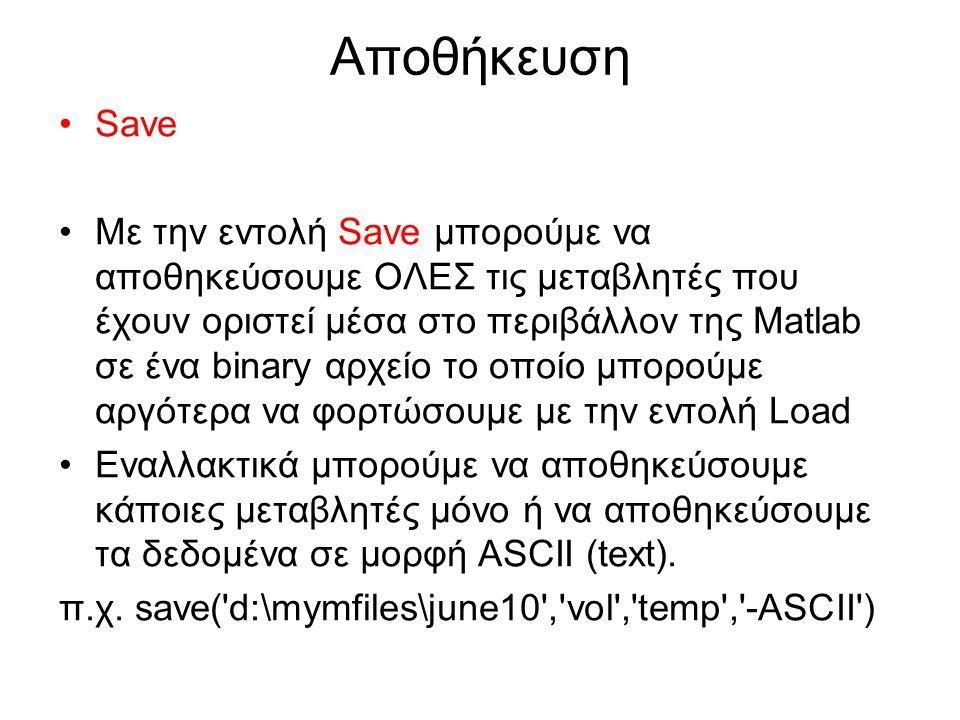 Αποθήκευση Save Με την εντολή Save μπορούμε να αποθηκεύσουμε ΟΛΕΣ τις μεταβλητές που έχουν οριστεί μέσα στο περιβάλλον της Matlab σε ένα binary αρχείο το οποίο μπορούμε αργότερα να φορτώσουμε με την εντολή Load Εναλλακτικά μπορούμε να αποθηκεύσουμε κάποιες μεταβλητές μόνο ή να αποθηκεύσουμε τα δεδομένα σε μορφή ASCII (text).