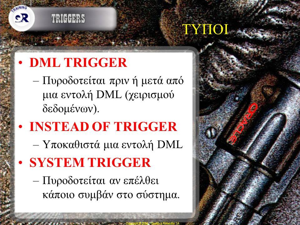 Copyright © 2006 – Quality & Reliability SA ΤΥΠΟΙ DML TRIGGER –Πυροδοτείται πριν ή μετά από μια εντολή DML (χειρισμού δεδομένων). INSTEAD OF TRIGGER –