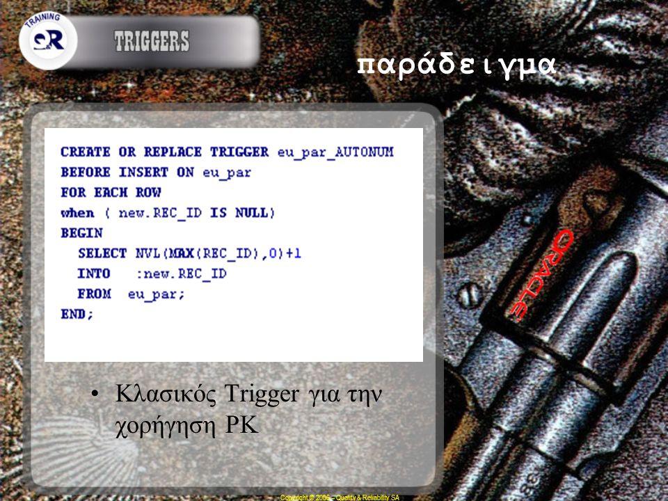 Copyright © 2006 – Quality & Reliability SA παράδειγμα Κλασικός Trigger για την χορήγηση ΡΚ