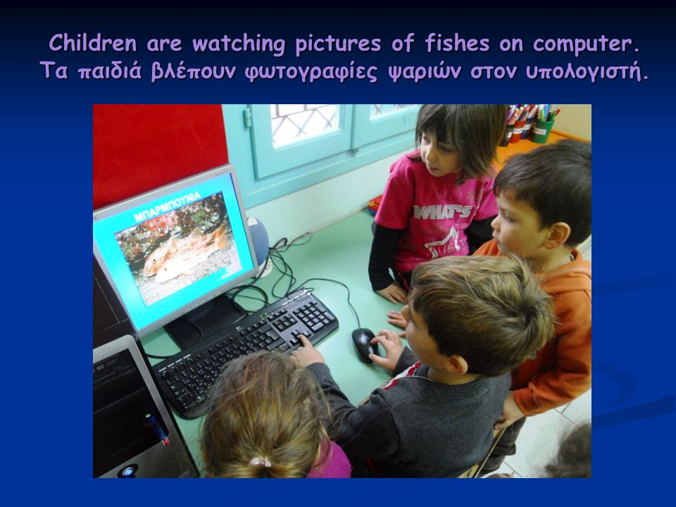 Children are watching pictures of fishes on computer.