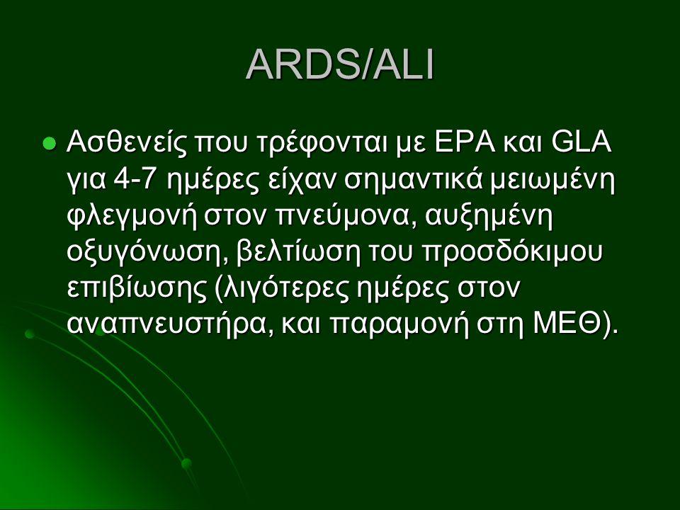 ARDS/ALI Ασθενείς που τρέφονται με EPA και GLA για 4-7 ημέρες είχαν σημαντικά μειωμένη φλεγμονή στον πνεύμονα, αυξημένη οξυγόνωση, βελτίωση του προσδό