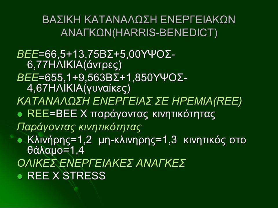 ΒΑΣΙΚΗ ΚΑΤΑΝΑΛΩΣΗ ΕΝΕΡΓΕΙΑΚΩΝ ΑΝΑΓΚΩΝ(HARRIS-BENEDICT) ΒΕΕ=66,5+13,75ΒΣ+5,00ΥΨΟΣ- 6,77ΗΛΙΚΙΑ(άντρες) ΒΕΕ=655,1+9,563ΒΣ+1,850ΥΨΟΣ- 4,67ΗΛΙΚΙΑ(γυναίκες)
