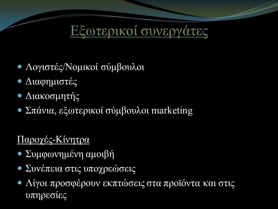 Εξωτερικοί συνεργάτες Λογιστές/Νομικοί σύμβουλοι Διαφημιστές Διακοσμητής Σπάνια, εξωτερικοί σύμβουλοι marketing Παροχές-Κίνητρα Συμφωνημένη αμοιβή Συνέπεια στις υποχρεώσεις Λίγοι προσφέρουν εκπτώσεις στα προϊόντα και στις υπηρεσίες