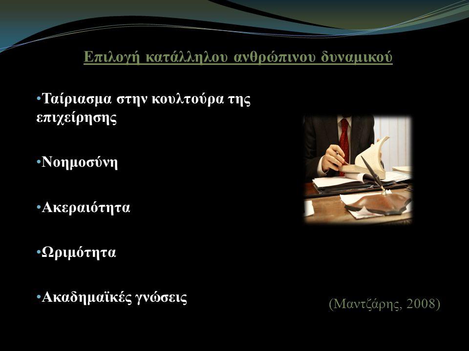 Επιλογή κατάλληλου ανθρώπινου δυναμικού Ταίριασμα στην κουλτούρα της επιχείρησης Νοημοσύνη Ακεραιότητα Ωριμότητα Ακαδημαϊκές γνώσεις (Μαντζάρης, 2008)
