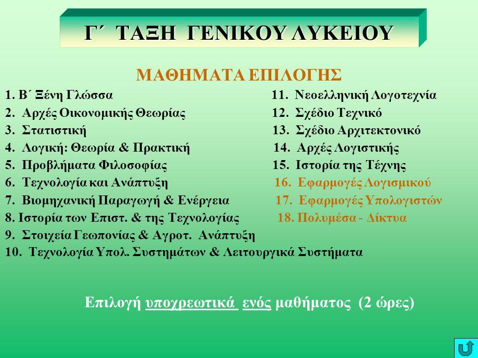 ΜΑΘΗΜΑΤΑ ΓΕΝΙΚΗΣ ΠΑΙΔΕΙΑΣ 17 ΩΡΕΣ 1.Θρησκευτικά 1 2.Αρχαία Ελληνική Γλώσσα & Γραμματεία 1 3.Α΄ Ξένη Γλώσσα 2 4.Βιολογία 1 5.Νεοελληνική Γλώσσα 2 6.Νεο