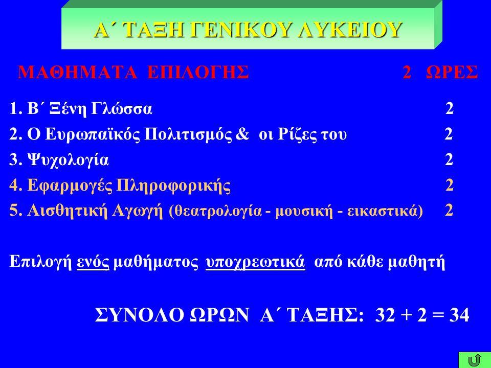 ΜΑΘΗΜΑΤΑ ΓΕΝΙΚΗΣ ΠΑΙΔΕΙΑΣ 32 ΩΡΕΣ 1. Θρησκευτικά 2 2. Αρχαία Ελληνική Γλώσσα & Γραμματεία 6 3. Νεοελληνική Γλώσσα 2 4. Νεοελληνική Λογοτεχνία 2 5. Ιστ
