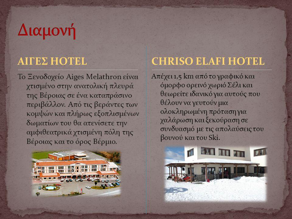 ΑΙΓΕΣ HOTEL Το Ξενοδοχείο Aiges Melathron είναι χτισμένο στην ανατολική πλευρά της Βέροιας σε ένα καταπράσινο περιβάλλον. Από τις βεράντες των κομψών