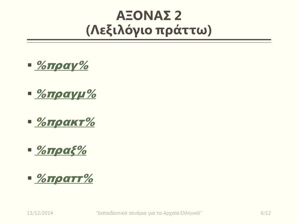 ΑΞΟΝΑΣ 2 (Λεξιλόγιο πράττω)  %πραγ% %πραγ%  %πραγμ% %πραγμ%  %πρακτ% %πρακτ%  %πραξ% %πραξ%  %πραττ% %πραττ% 13/12/20146/12 Εκπαιδευτικά σενάρια για τα Αρχαία Ελληνικά