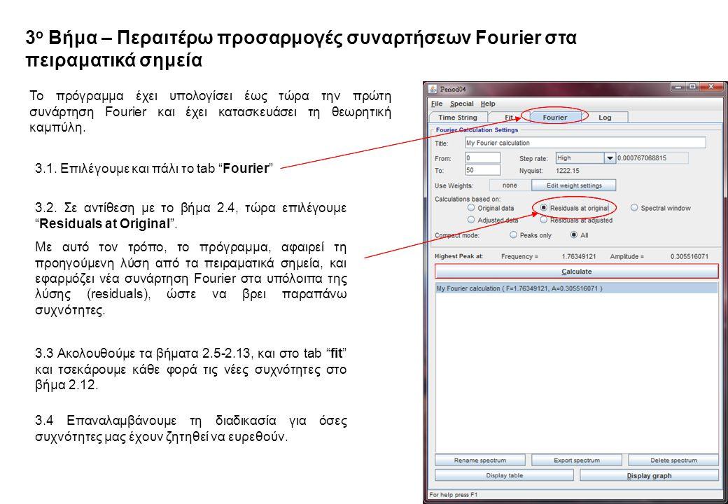 3 ο Βήμα – Περαιτέρω προσαρμογές συναρτήσεων Fourier στα πειραματικά σημεία Το πρόγραμμα έχει υπολογίσει έως τώρα την πρώτη συνάρτηση Fourier και έχει κατασκευάσει τη θεωρητική καμπύλη.