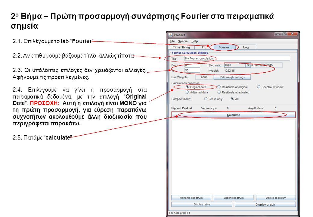 2 ο Βήμα – Πρώτη προσαρμογή συνάρτησης Fourier στα πειραματικά σημεία 2.1.