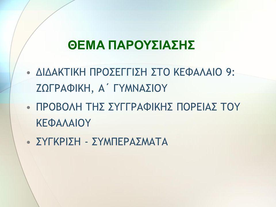 ΔΙΔΑΚΤΙΚΗ ΠΡΟΣΕΓΓΙΣΗ ΣΤΟ ΚΕΦΑΛΑΙΟ 9: ΖΩΓΡΑΦΙΚΗ, Α΄ ΓΥΜΝΑΣΙΟΥ ΠΡΟΒΟΛΗ ΤΗΣ ΣΥΓΓΡΑΦΙΚΗΣ ΠΟΡΕΙΑΣ ΤΟΥ ΚΕΦΑΛΑΙΟΥ ΣΥΓΚΡΙΣΗ - ΣΥΜΠΕΡΑΣΜΑΤΑ ΘΕΜΑ ΠΑΡΟΥΣΙΑΣΗΣ