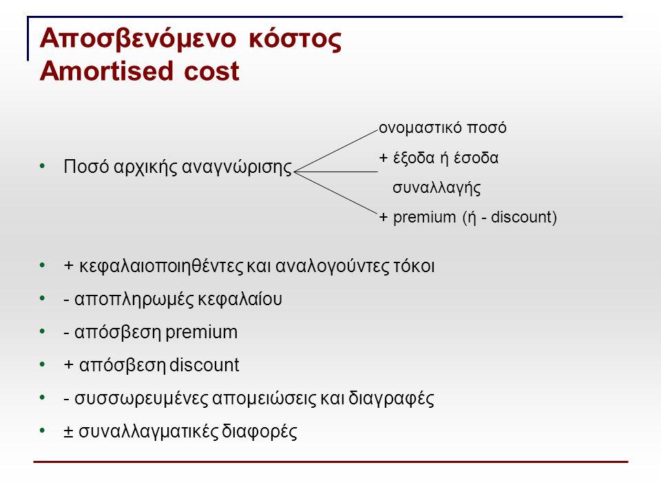 Ποσό αρχικής αναγνώρισης + κεφαλαιοποιηθέντες και αναλογούντες τόκοι - αποπληρωμές κεφαλαίου - απόσβεση premium + απόσβεση discount - συσσωρευμένες απ