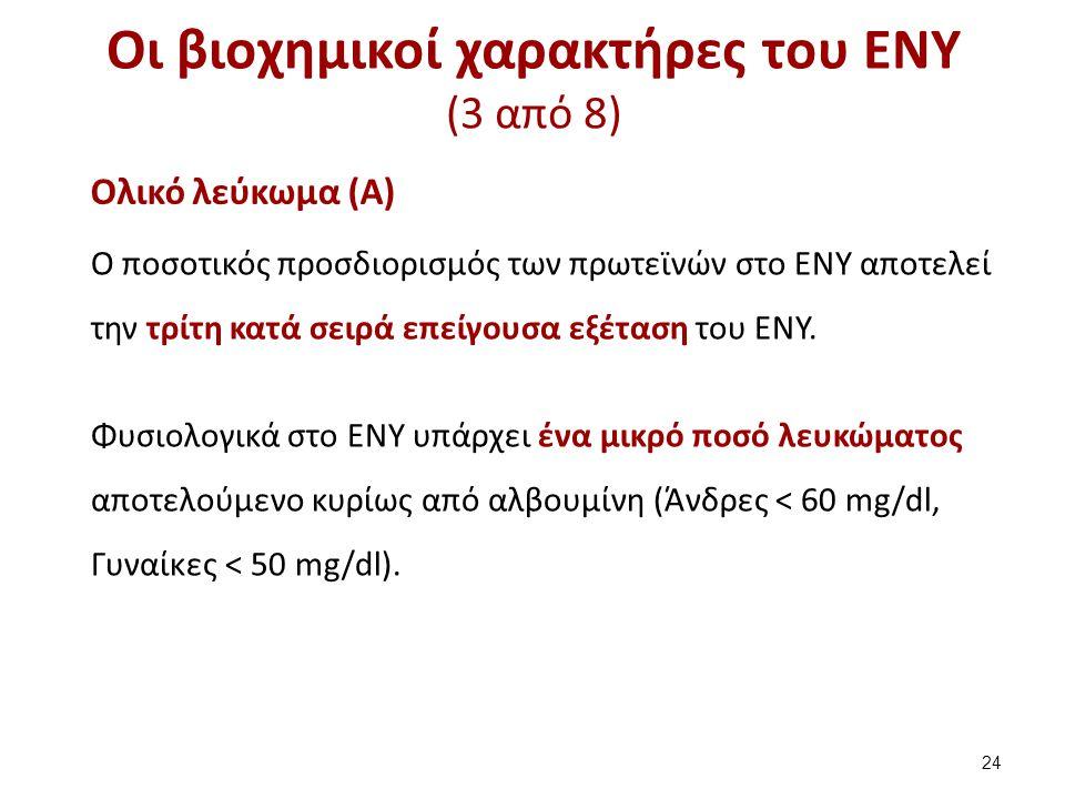 Οι βιοχημικοί χαρακτήρες του ΕΝΥ (3 από 8) Ολικό λεύκωμα (Α) Ο ποσοτικός προσδιορισμός των πρωτεϊνών στο ΕΝΥ αποτελεί την τρίτη κατά σειρά επείγουσα ε