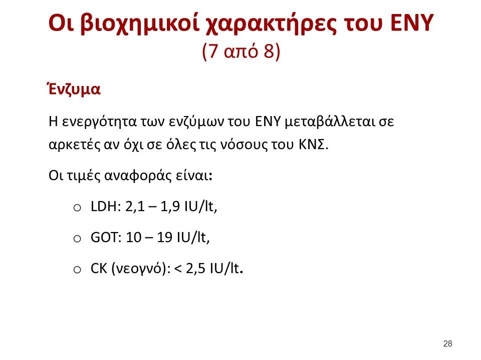 Οι βιοχημικοί χαρακτήρες του ΕΝΥ (7 από 8) Ένζυμα Η ενεργότητα των ενζύμων του ΕΝΥ μεταβάλλεται σε αρκετές αν όχι σε όλες τις νόσους του ΚΝΣ. Οι τιμές