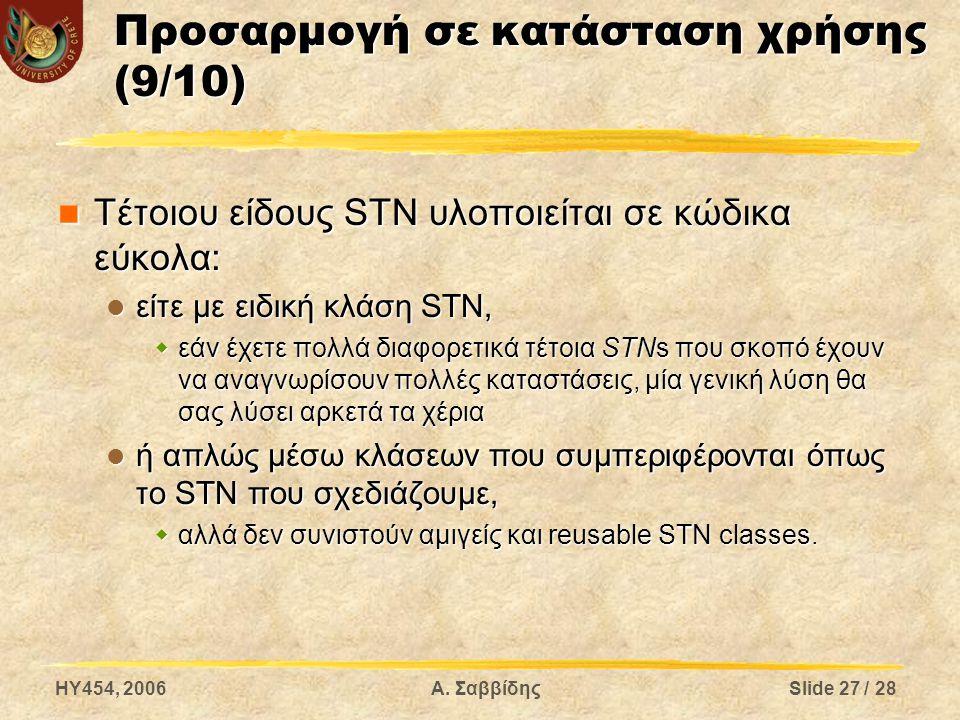 HY454, 2006Α. ΣαββίδηςSlide 27 / 28 Προσαρμογή σε κατάσταση χρήσης (9/10) Τέτοιου είδους STN υλοποιείται σε κώδικα εύκολα: Τέτοιου είδους STN υλοποιεί