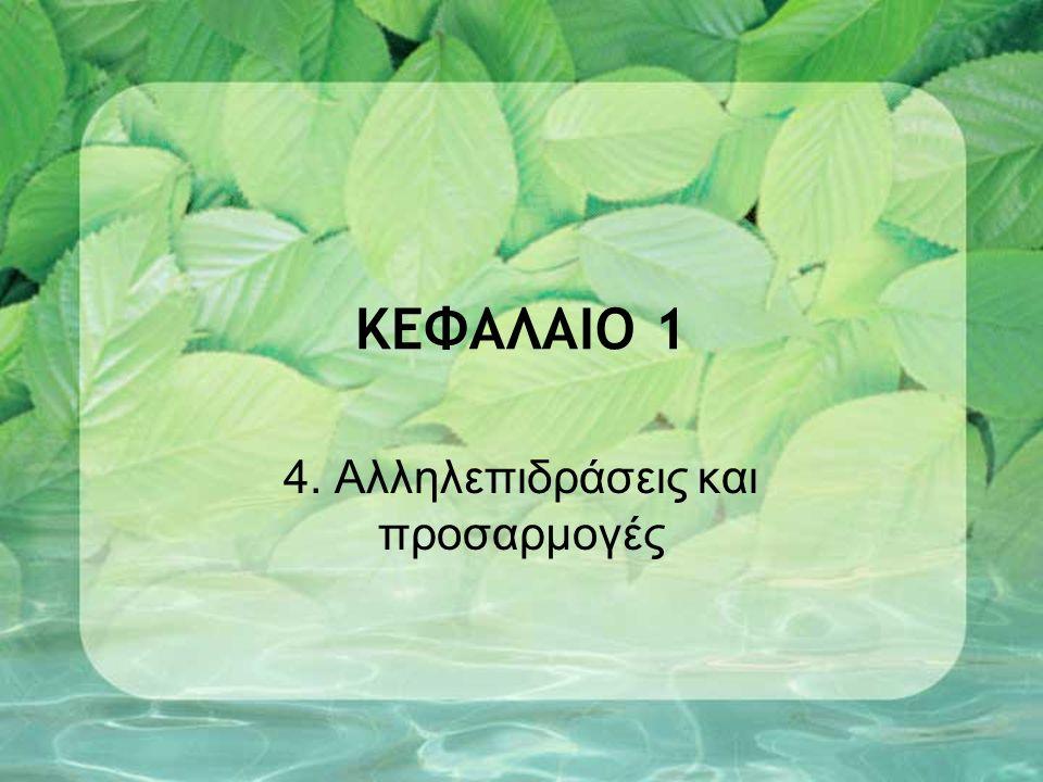ΚΕΦΑΛΑΙΟ 1 4. Αλληλεπιδράσεις και προσαρμογές