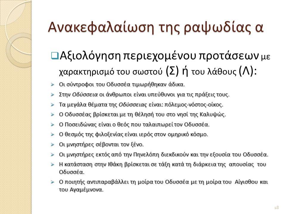 Ανακεφαλαίωση της ραψωδίας α  Αξιολόγηση περιεχομένου προτάσεων με χαρακτηρισμό του σωστού (Σ) ή του λάθους (Λ):  Οι σύντροφοι του Οδυσσέα τιμωρήθηκαν άδικα.