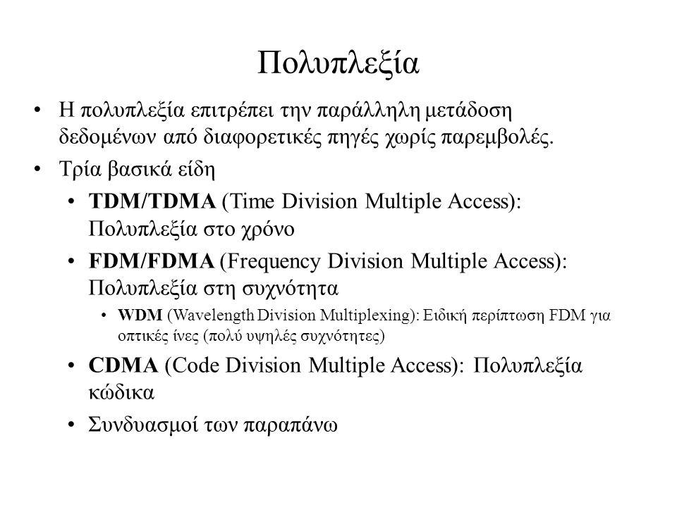 Πολυπλεξία Η πολυπλεξία επιτρέπει την παράλληλη μετάδοση δεδομένων από διαφορετικές πηγές χωρίς παρεμβολές. Τρία βασικά είδη TDM/TDMA (Time Division M