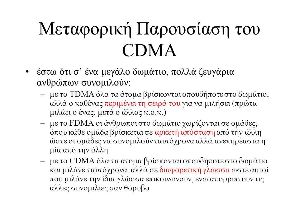 CDMA Βασίζεται στο DS Spread Spectrum Κάθε σταθμός μετάδοσης παίρνει ένα κωδικό (chip sequence) που αντιπροσωπεύει τη μετάδοση του 1 (το συμπληρωματικό αντιπροσωπεύει το 0) Π.χ.