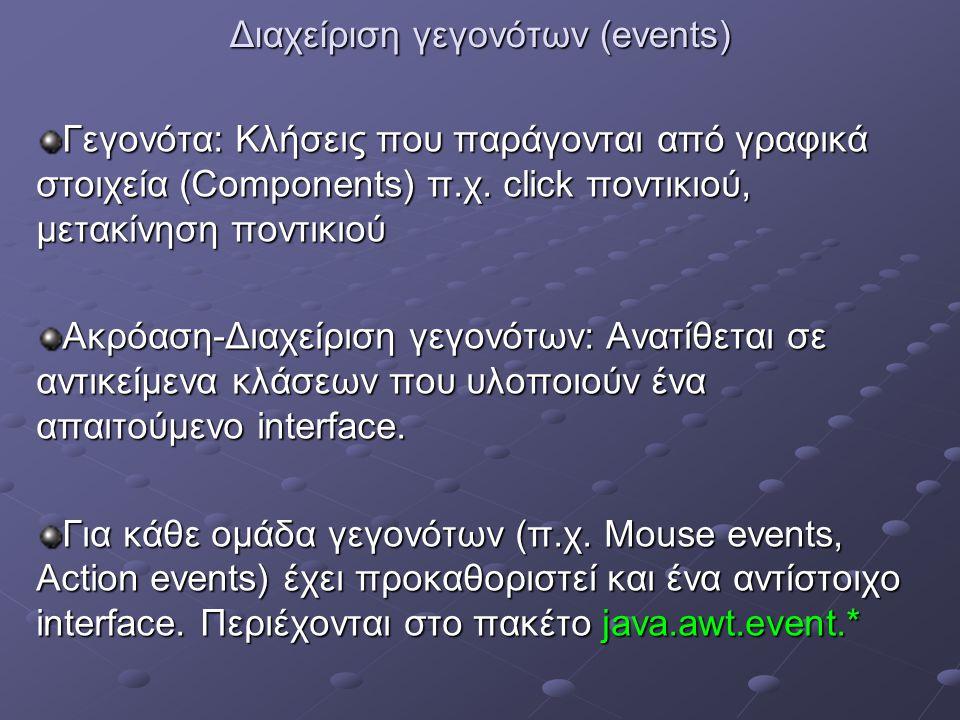 Διαχείριση γεγονότων (events) Γεγονότα: Κλήσεις που παράγονται από γραφικά στοιχεία (Components) π.χ. click ποντικιού, μετακίνηση ποντικιού Ακρόαση-Δι